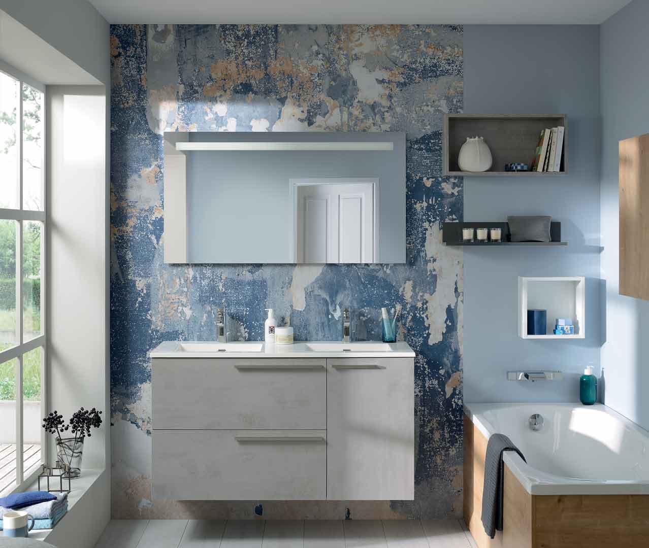 Das Sortiment Liberty, trendige Badezimmermöbel – Sanijura